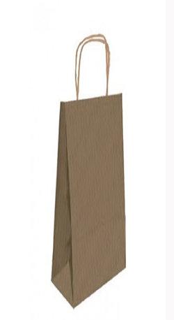 Bolsa papel kraft marron botella 18x8x39 cm