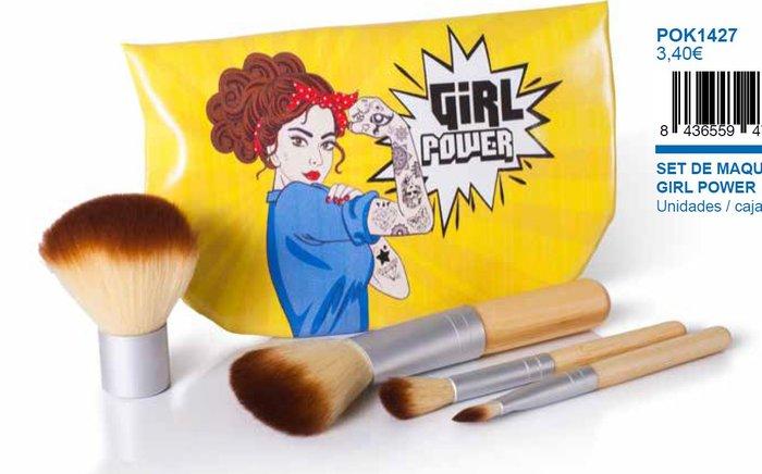 Bolsito con brochas de maquillaje girl power