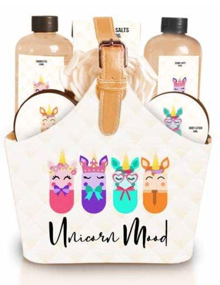 Bolso set de baÑo unicornios