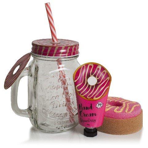 Estuche baÑo jarrita donut fresa crema de manos + esponja
