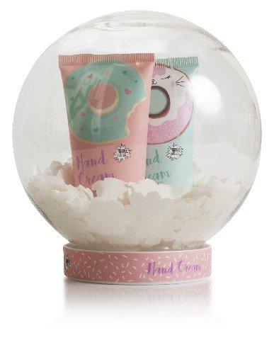 Estuche de baÑo bola de nieve donuts crema manos + confeti