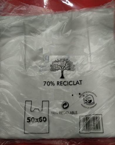 Bolsa camiseta 50x60 70% reciclado 1 kg (40 unidades)