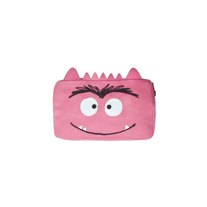 Estuche portatodo monstruo de colores rosa 100% algodon