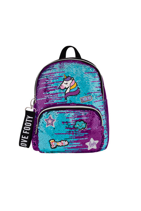 Mochila footy modelo loving patches morada