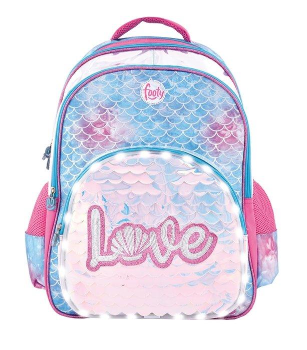 Mochila escolar footy con luz led love ref 000799