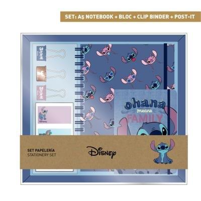 Set papeleria mickey cuaderno+libreta+pinzas+notas adhesivas