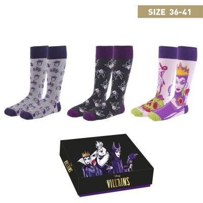 Pack c. regalo 3 modelos de calcetines  villanos talla 36-41