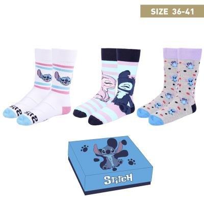 Pack caja regalo 3 modelos de calcetines  stitch talla 36-41