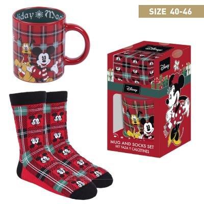 Set regalo taza+calcetin mickey navideÑos talla 40-46