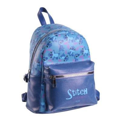 Mochila casual moda polipiel con bolsillo stitch azul