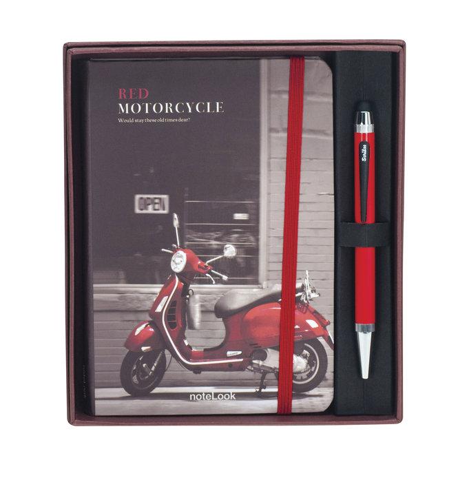 Set de regalo boligrafo smart pen rojo + notebook a6 moto