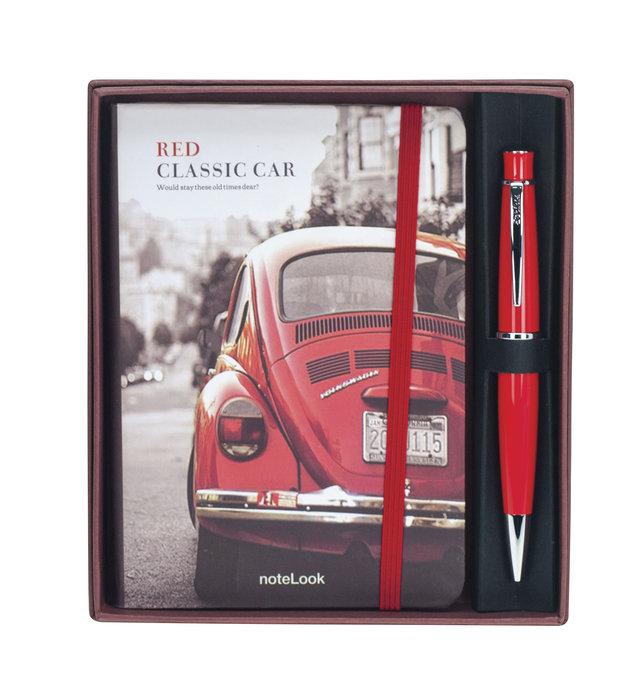 Set regalo boligrafo chic 62 rojo + notebook a6 coche