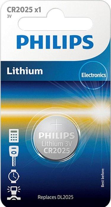 Pila boton litio philips cr2025 3v blister 1 ud