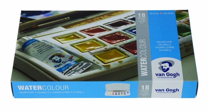 Acuarela van gogh estuche plastico 18 colores