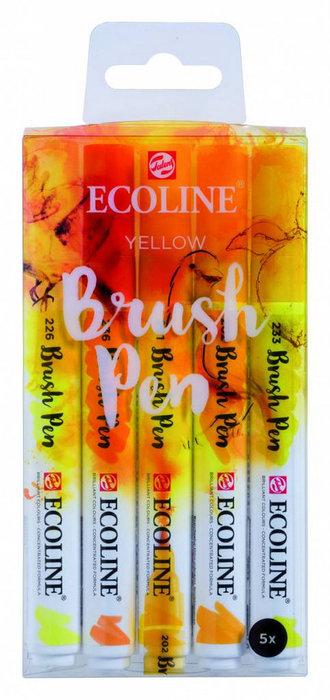 Marcador ecoline brushpen amarillo 5 unidades
