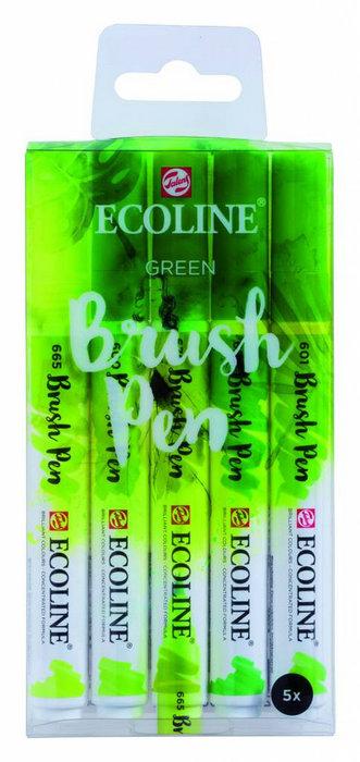 Marcador ecoline brushpen verde 5 unidades