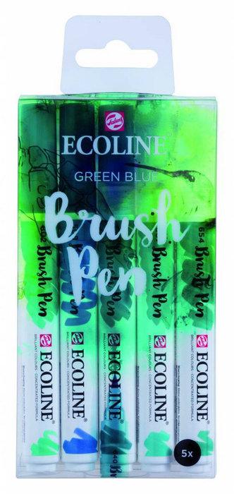 Marcador ecoline brushpen verde azul 5 unidades