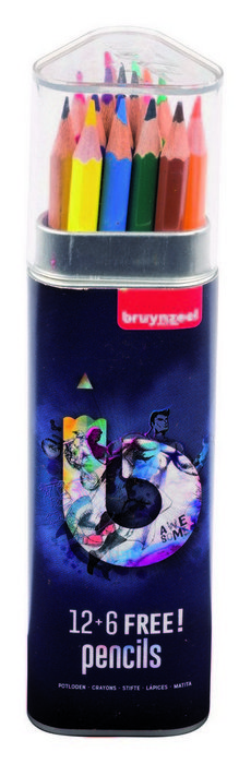 Lapiz de color bruynzell 12+6 uds azul