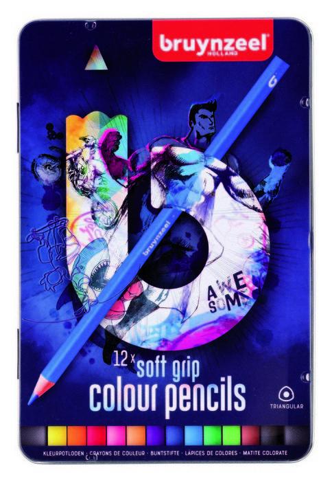Lapiz colores suaves bruynzell 12 uds azul triangular