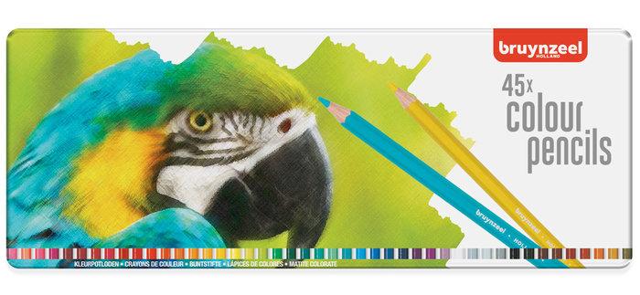 Lapiz bruynzeel 45 colores caja metal papagayo