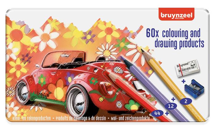 Lapices de colores bruynzeel caja metalica 60 unidades