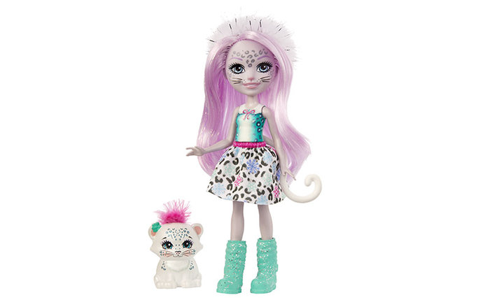 MuÑeca enchantimals sybill snow leopard y flake