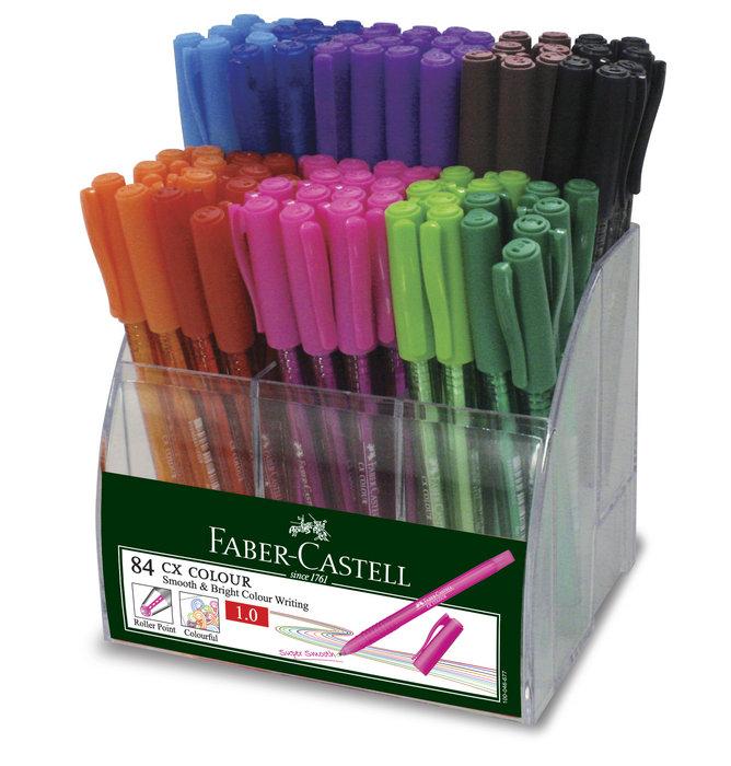 Expositor 84 boligrafo faber castell cx 1.0 colores surtido