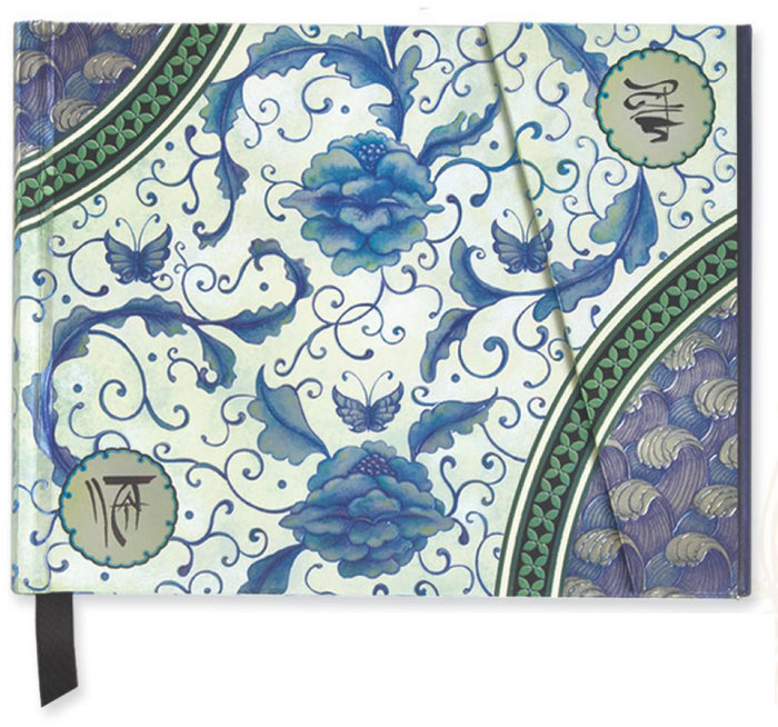 Cuaderno boncahier madame butterfly flores azules