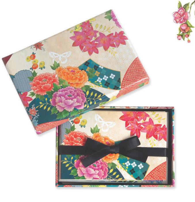 Cuaderno boncahier madame butterfly tarjeta sobre flor colo