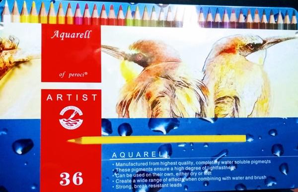 Estuche metálico 36 colores lápices acuarelables